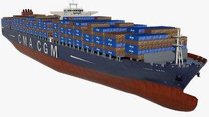 container ship cma corte 3D model