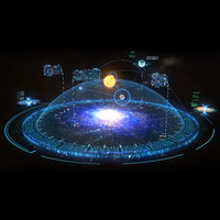 3D model futuristic hologram interface galaxy