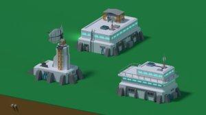 sci-fi buildings 3D