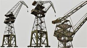 3D model large old crane pbr