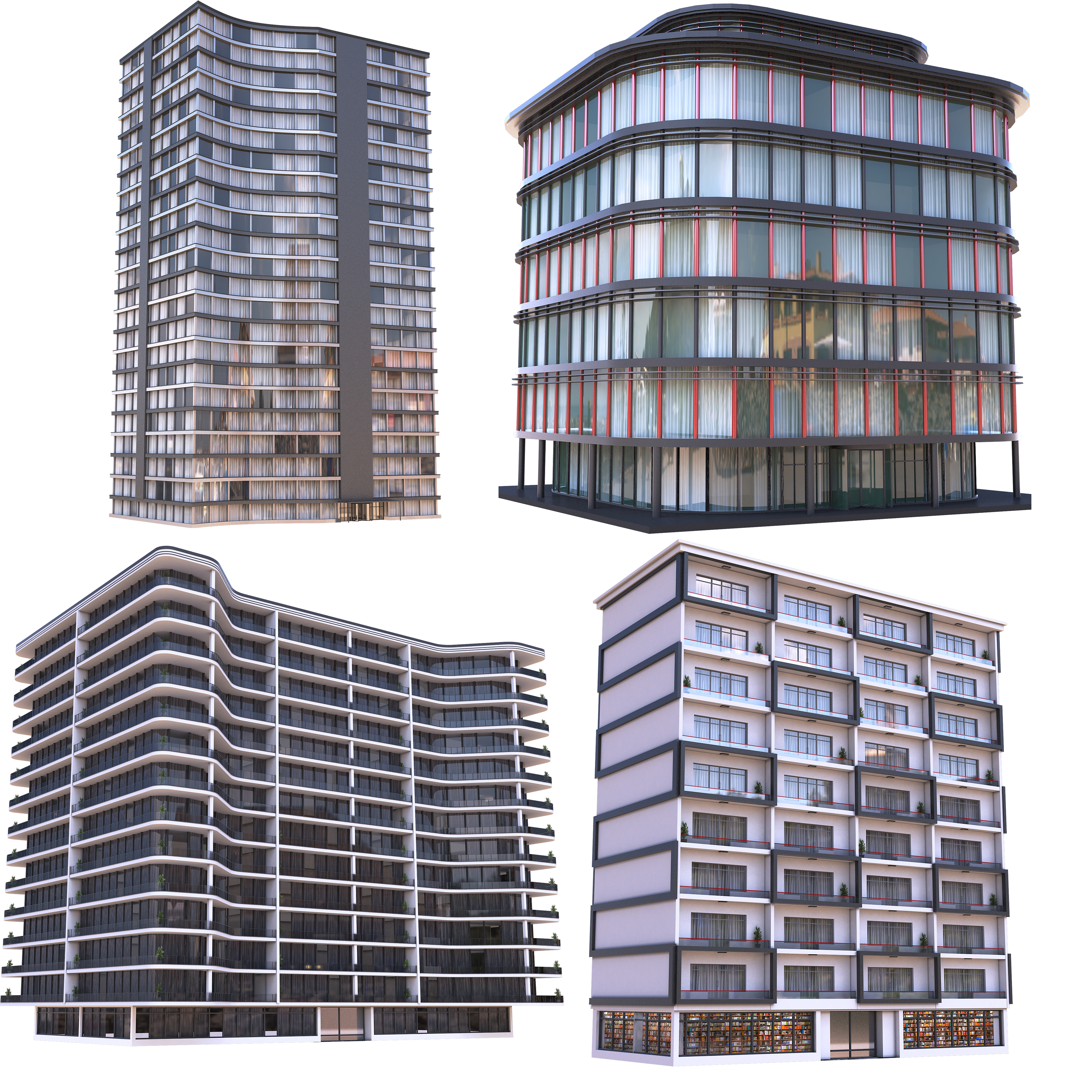 Modern Apartment Buildings Collection B