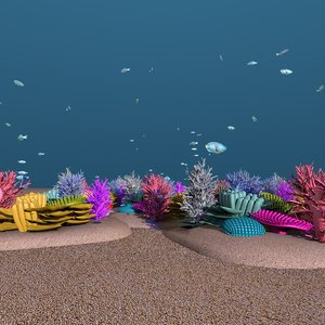 school parrot swimming fishes 3D model