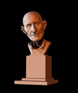 3D old man bust model