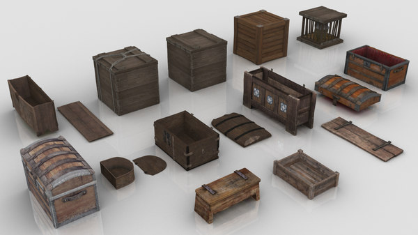 medieval chests crates model