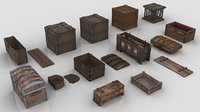 Collection of Medieval Chests and Crates