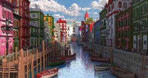 3D town street