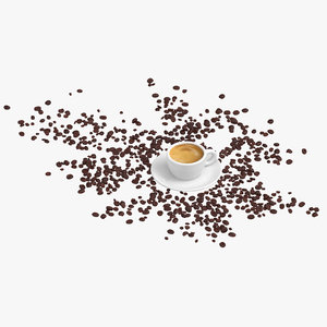 espresso coffee scattered beans 3D model