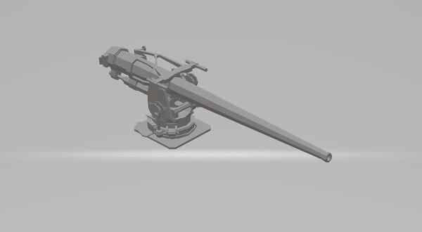 3D 5 inch deck gun model