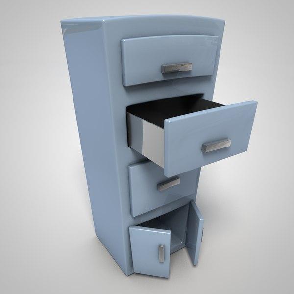 cartoon filing cabinet 3D model
