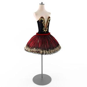 tutu ballet paqita costume 3D model
