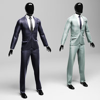 Men s classic suit in two versions violet silver