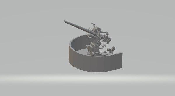3D 3 inch deck gun model