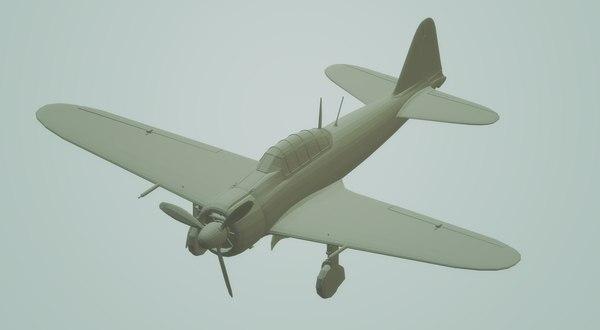 3D a6m2 japanese zero fighter aircraft