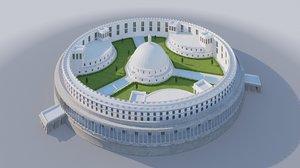parliament india - parlamento 3D