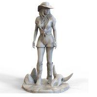 westen girl sculpture 3D