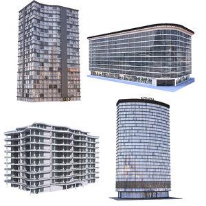 modern apartment buildings 3D model