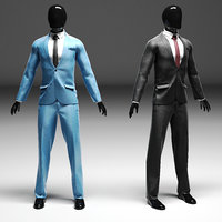 Men s classic suit in two versions black blue