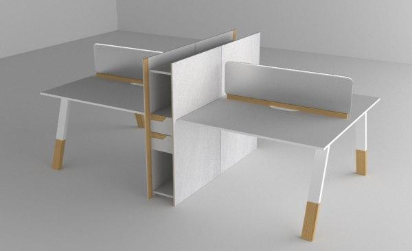 modern office desk 3D model