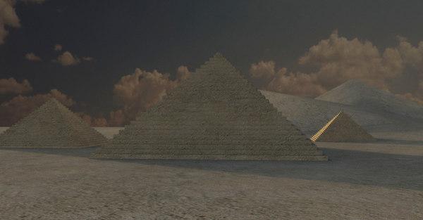 3D pyramids landscape model