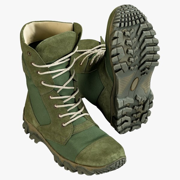 3D realistic military boots green