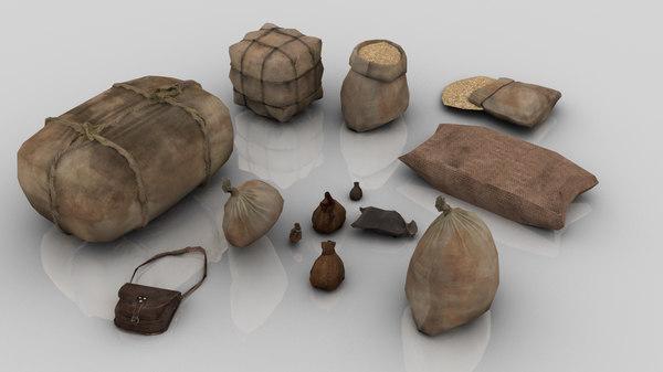 set 13 medieval bags 3D model