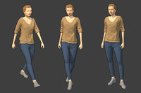 rigged female character - 3D model