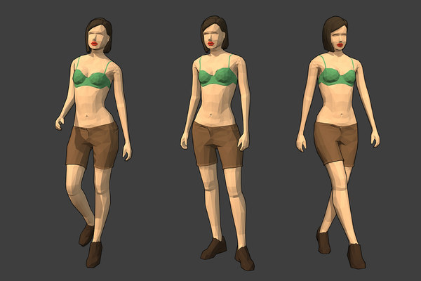 rigged female character - model