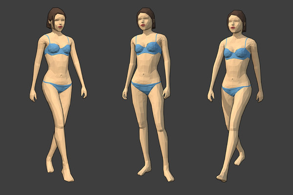 rigged female character - 3D