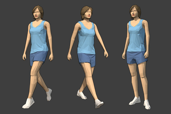 3D model rigged female character -