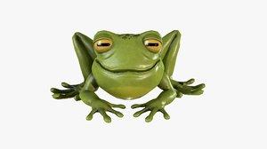 stylized cartoon frog 3D model