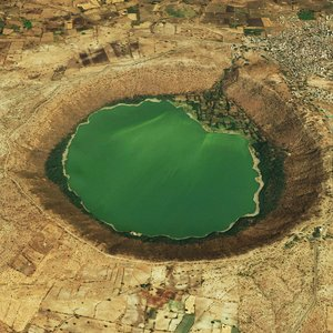 realistic meteor crater 3D model