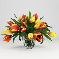 vase tulips 3D