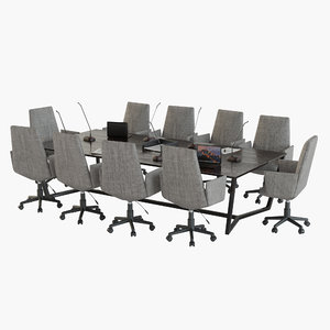 meeting table office chair 3D model