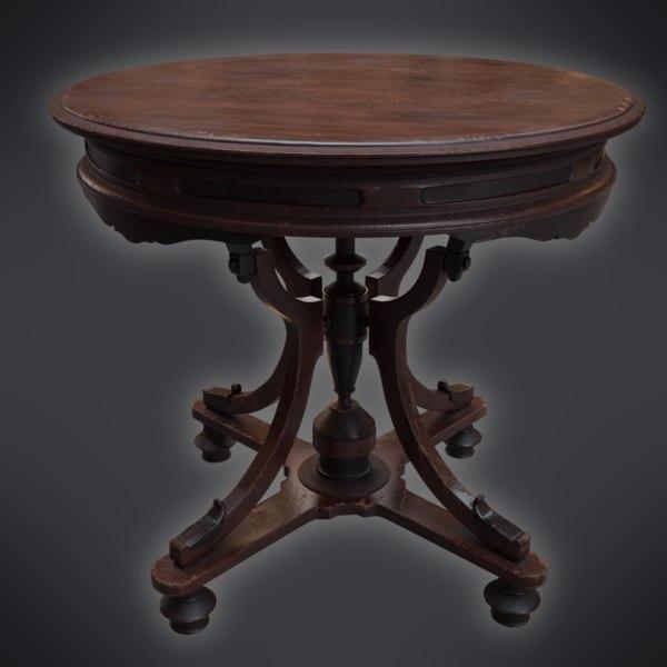 Old Table Vintage 3d Turbosquid 1432767, Vintage Round Table
