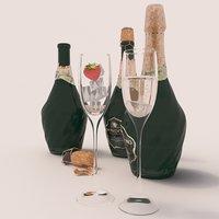 bottle champagne mondoro 3D model