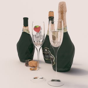 bottle champagne mondoro 3D model
