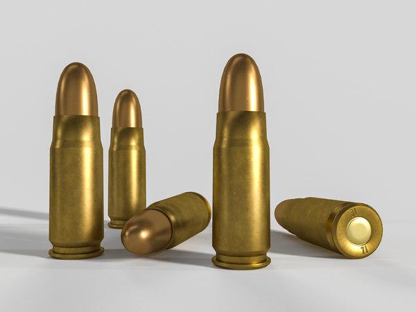 3D pistol cartridge 7 62x25 model
