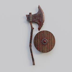 3D blender barbarian axe shield model