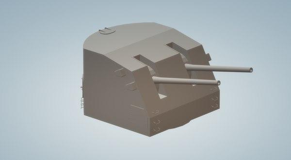 3D model 5 inch 38 twin