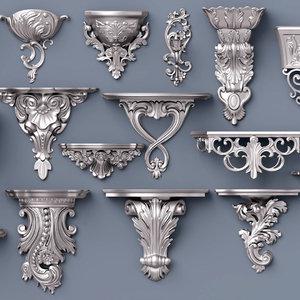 wall consoles decor 3D model