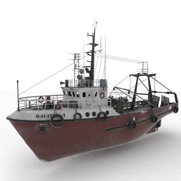3D fishing trawler baltika model