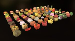 fruits vegetables pack 3D model