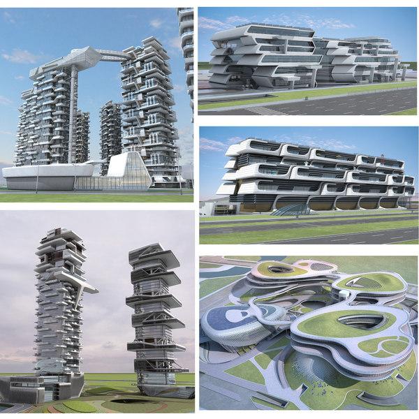 3D model futuristic skyscrapers 11-15