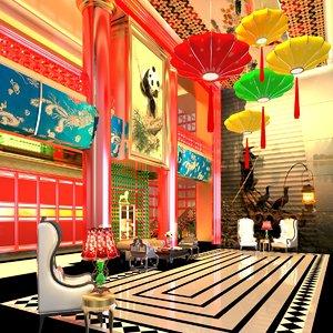 chinese interior design room scene 3D