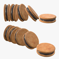 sandwich chocolate cookie 3D