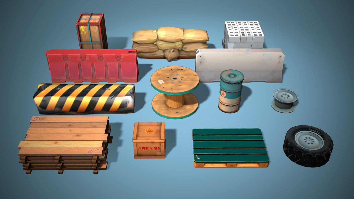 Cover Objects Pack Game Ready Low Poly