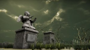 3D medivel cemetery pack - model
