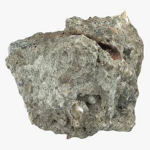 broken concrete piece 09 3D