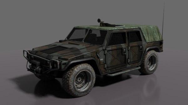 3D army car model