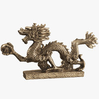 3D model statue indian bronze dragon